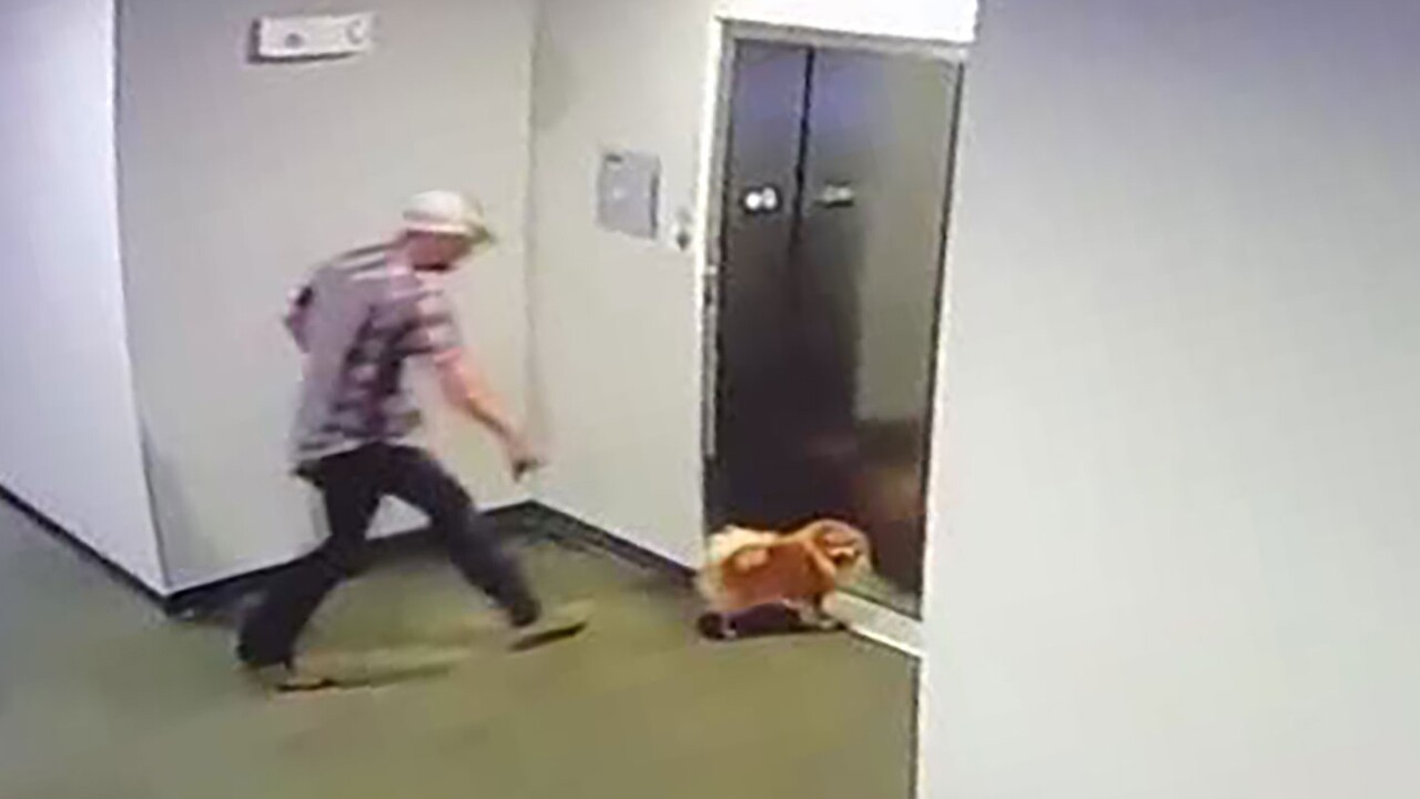 A man saved his neighbor's dog after its leash got caught in an elevator door on Monday and their apartment security cameras captured the rescue.