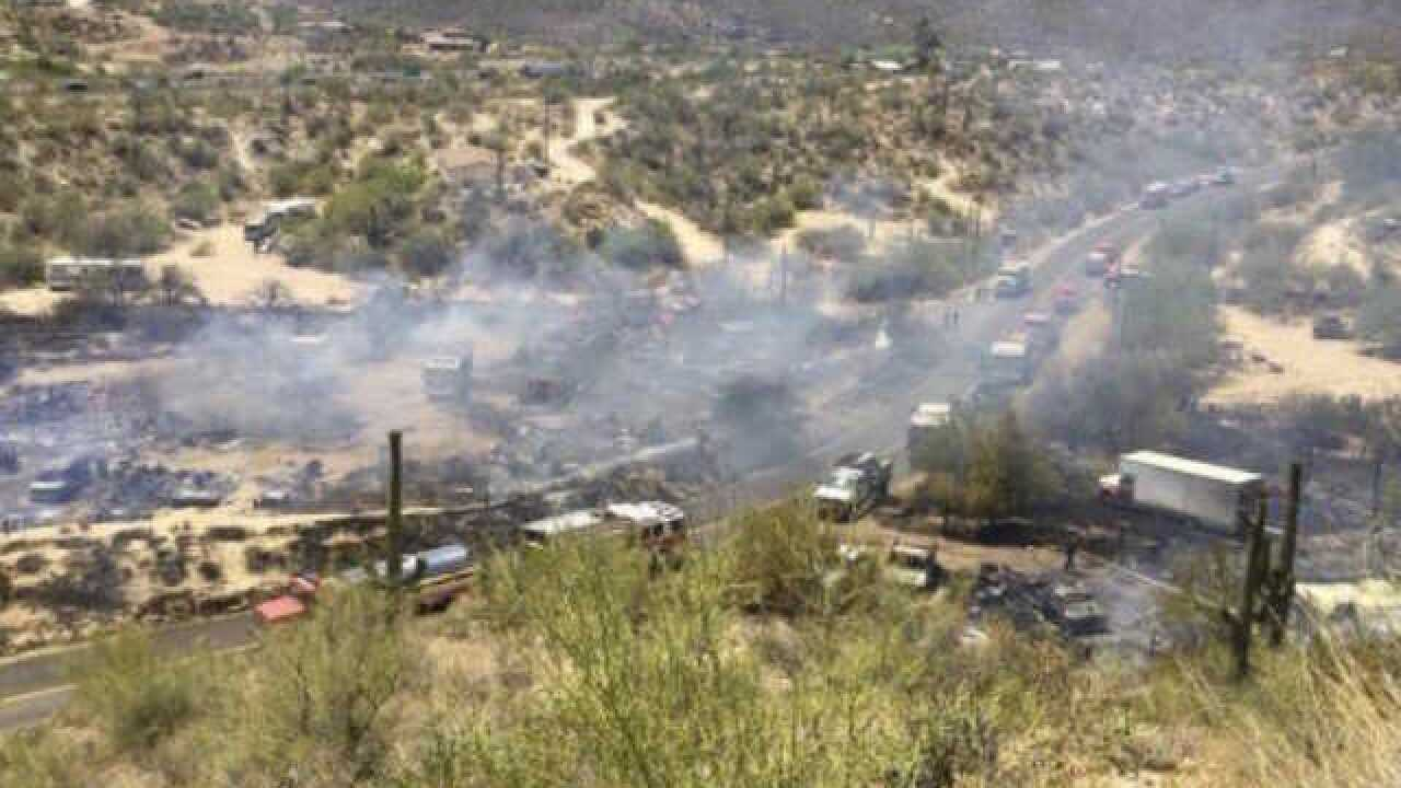 FD: 5-acre wildfire destroys 2 homes, 20 vehicles in Black Canyon City