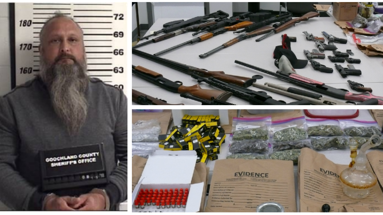 Goochland man busted with 5 pounds of marijuana and 27 firearms