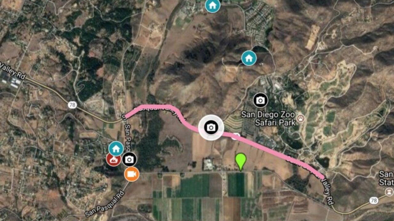 INTERACTIVE MAP: Third fire in two weeks breaks out on San Pasqual Valley Rd.
