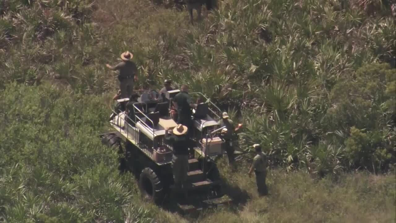 Authorities search for Jean Alexandre using swamp buggy at Kissimmee Prairie Preserve State Park, Aug. 26, 2020