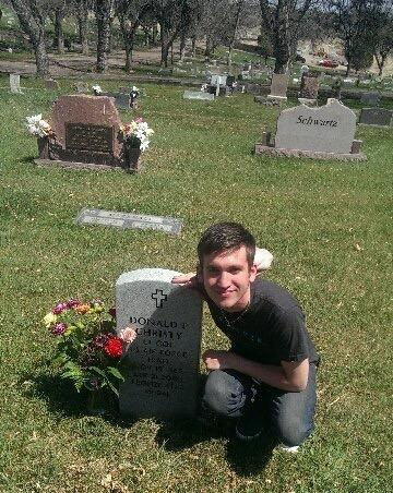 Ryan at his dad's headstone