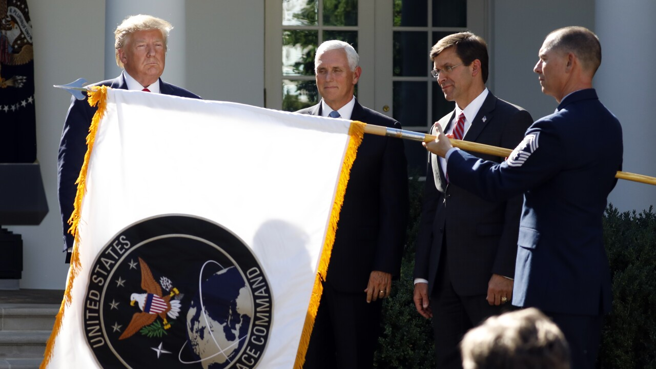 u.s. space command-space flag-trump-pence-ap photo