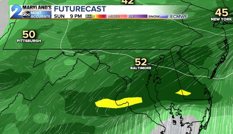 Sunday's Rain Chances-Euro Model