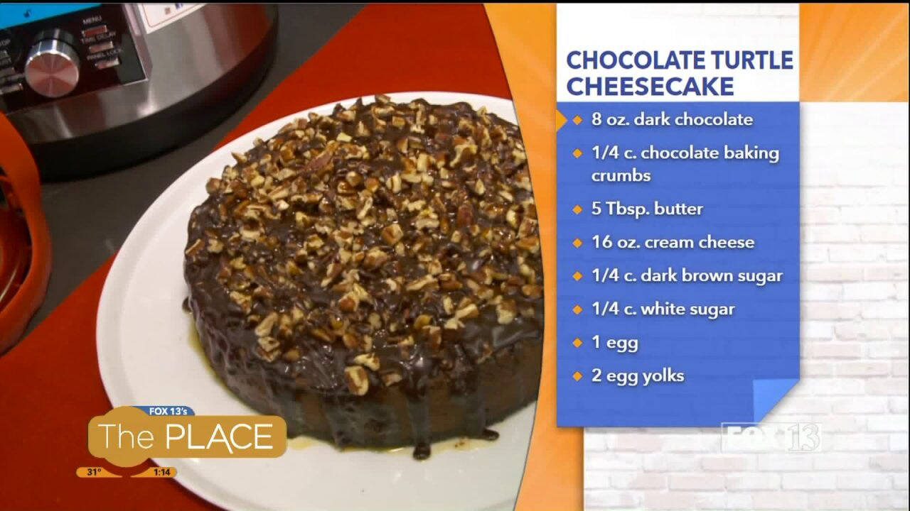 Pressure Cooker Chocolate Turtle Cheesecake
