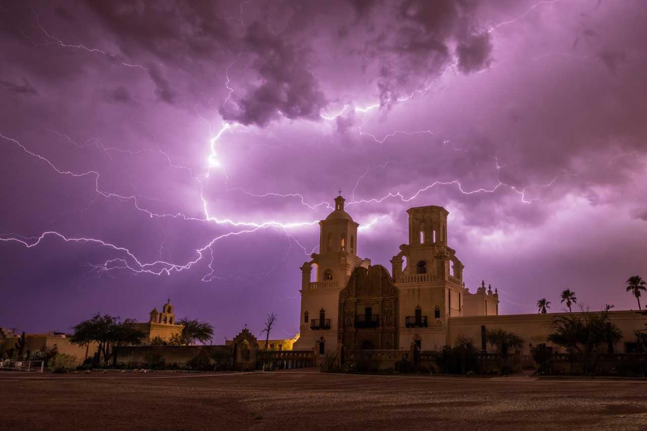 Monsoon lighting over San Xavier