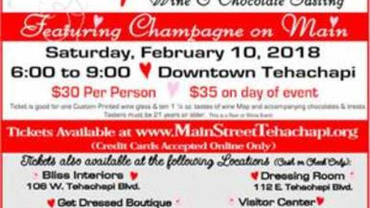 11th Annual Valentine's Wine Walk and Chocolate Tasting in Tehachapi