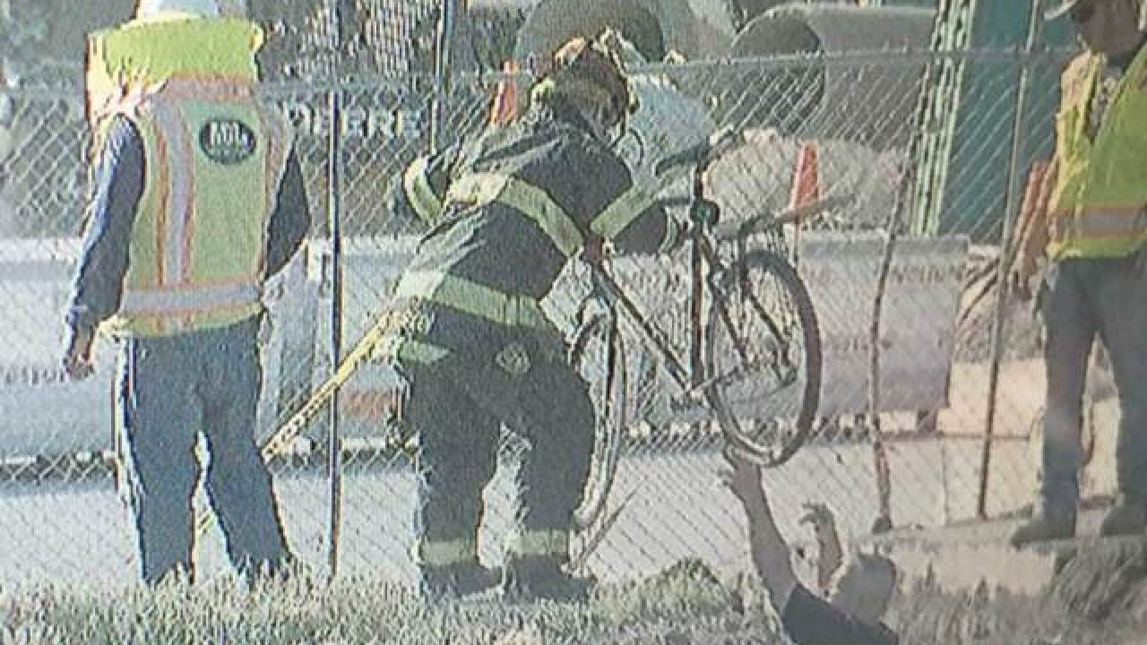 Cyclist falls into construction trench in Denver