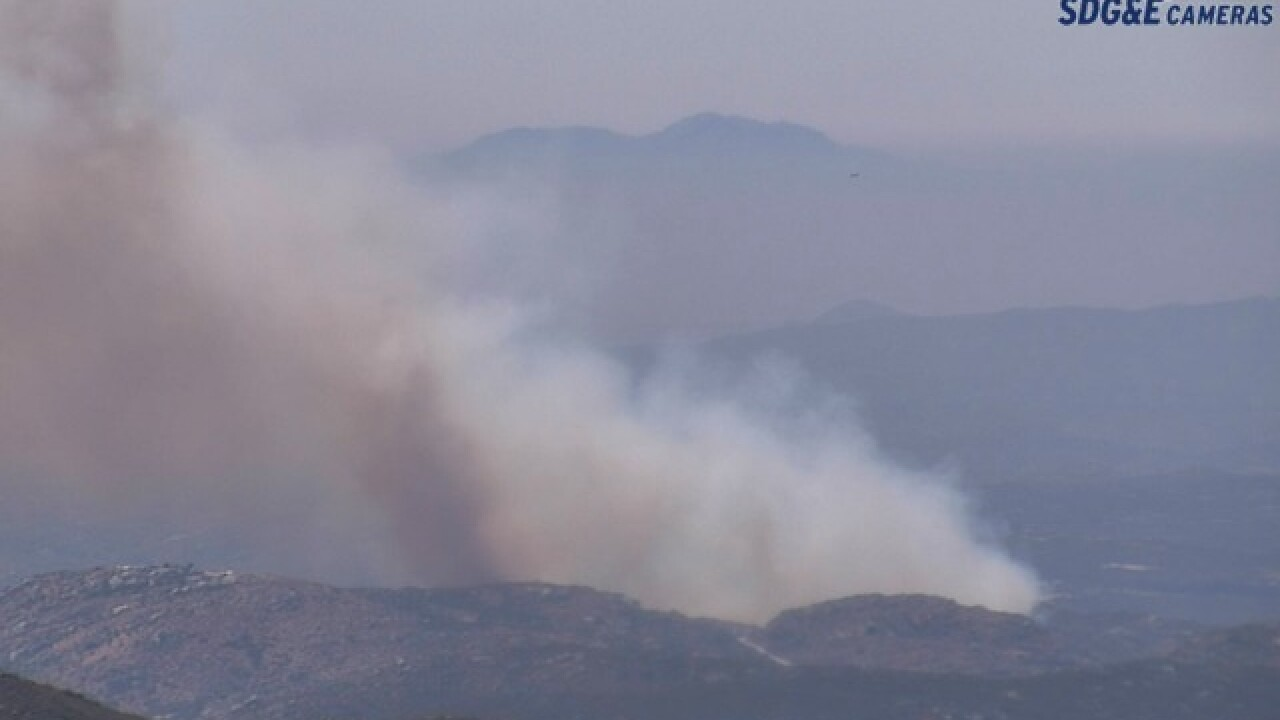 Brush fire breaks out on Highway 94 in Campo