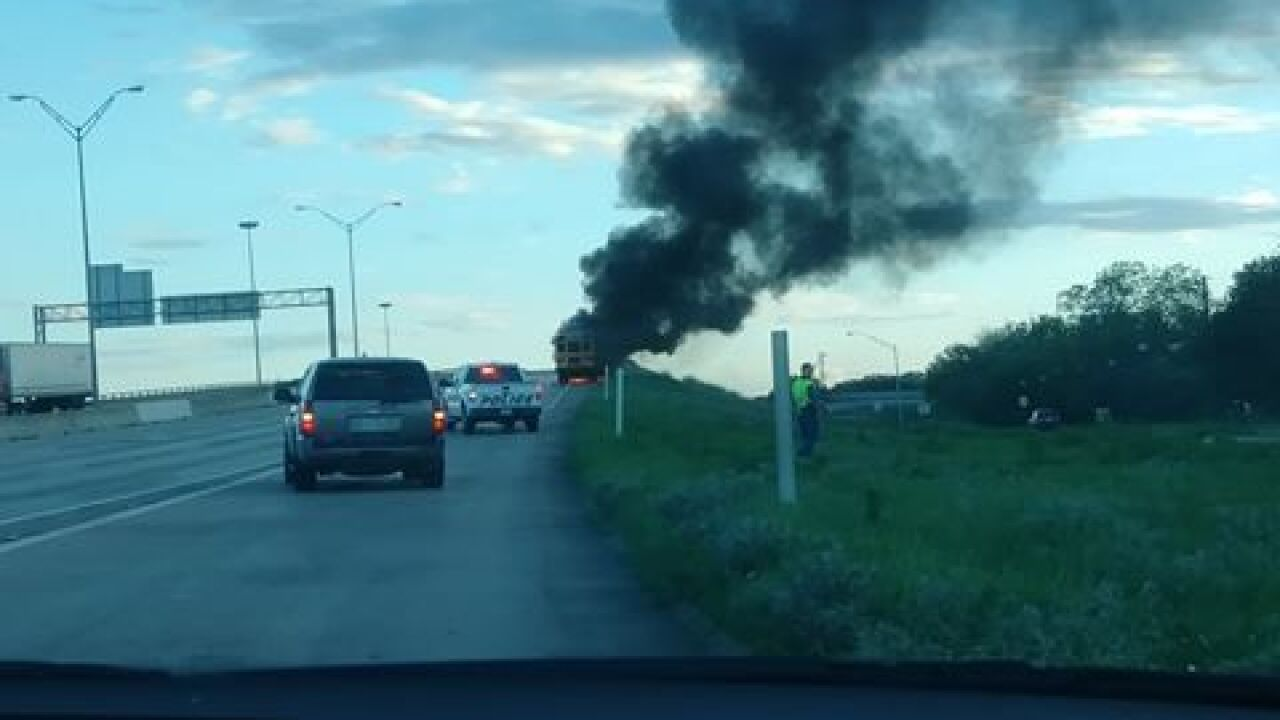 School bus fire on I-35 causes delay