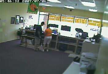 Video surveillance of the Cash Express robbery in 2007.