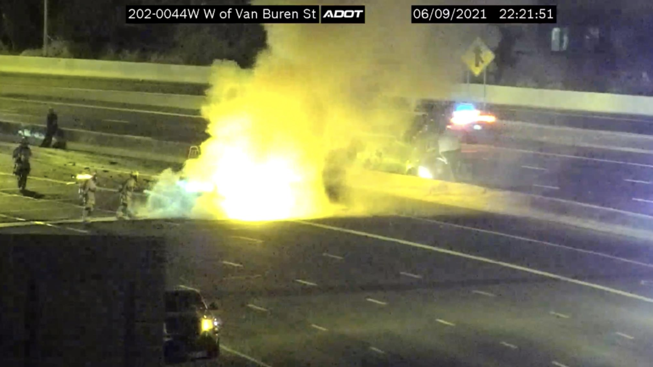 A milk tanker crashed into multiple vehicles on a Phoenix freeway in a wreck that killed four people and critically injured six others. ADOT photo.