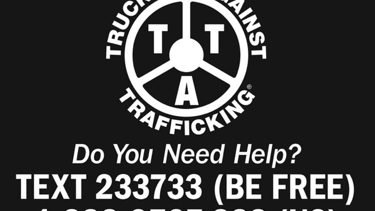 Stickers on trucks to reach trafficking victims