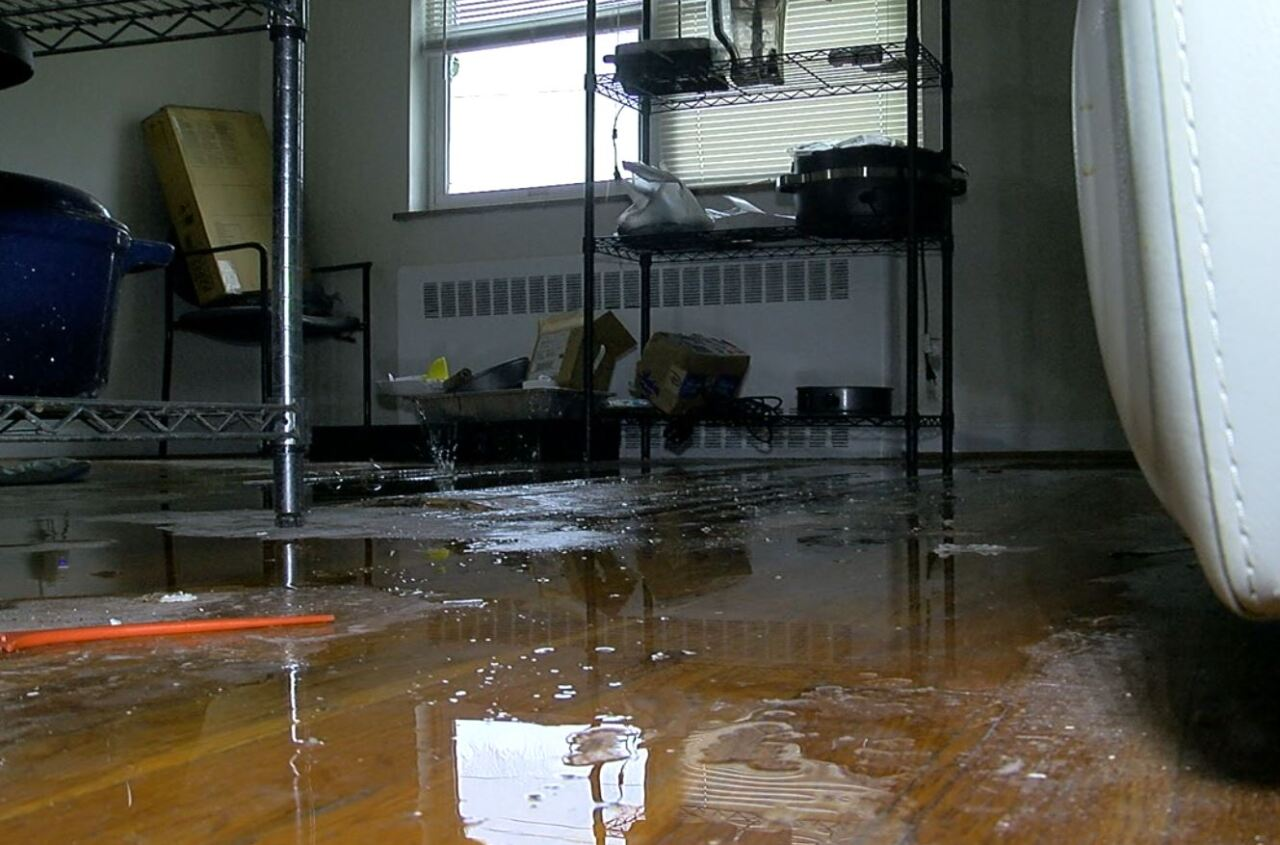 Water drips from the ceiling onto the floor of Valerie Lane's apartment.