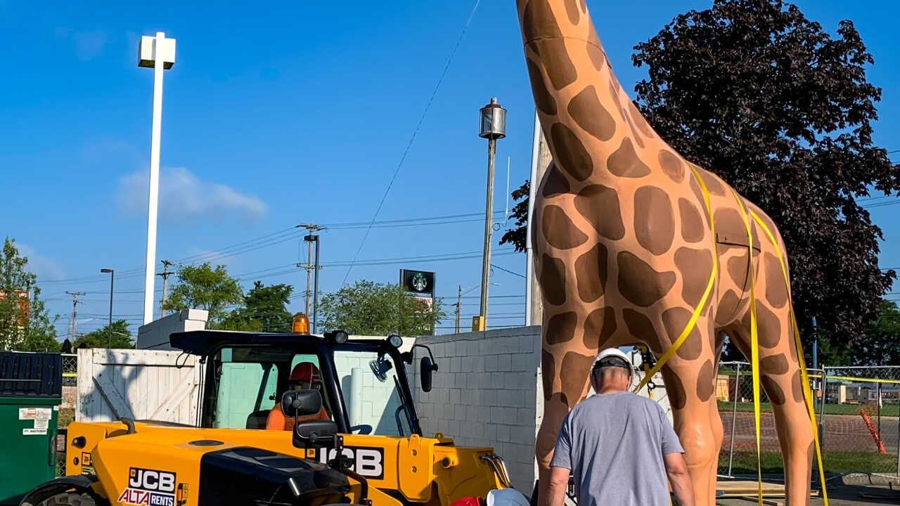 For more than 50 years a 14-foot giraffe has been sitting on top of the Meijer gas station on West Saginaw Highway.