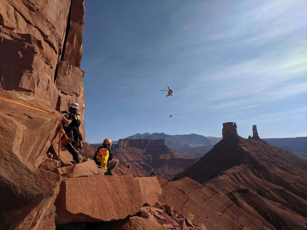 Photos: SAR teams rescue injured rock climbers twice in two days from same spot nearMoab