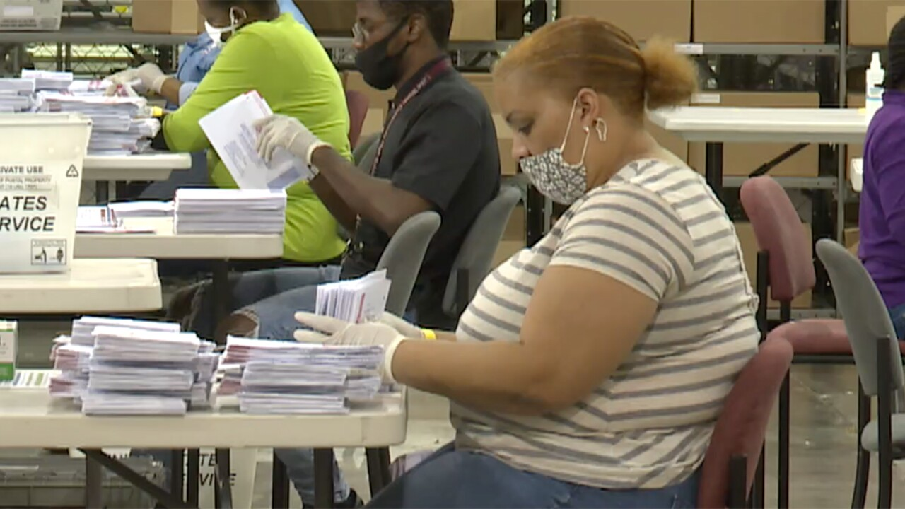 Ballots removed from envelopes to be counted at the Palm Beach County Elections Tabulation Office in Riviera Beach, Fla. on Aug. 18, 2020.