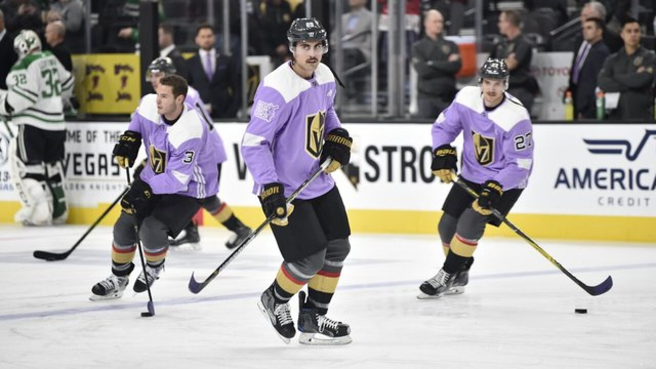 Vegas Golden Knights hosting Hockey Fights Cancer Night Saturday