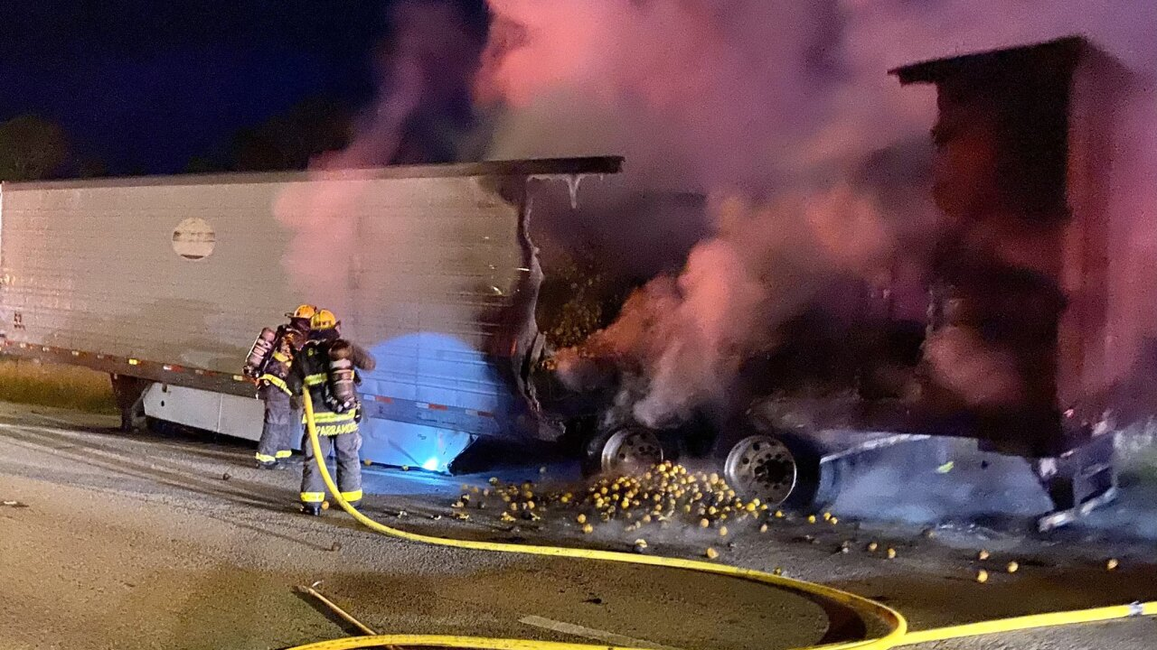 A semi truck trailer was destroyed by a fire Saturday night in Fort Pierce.