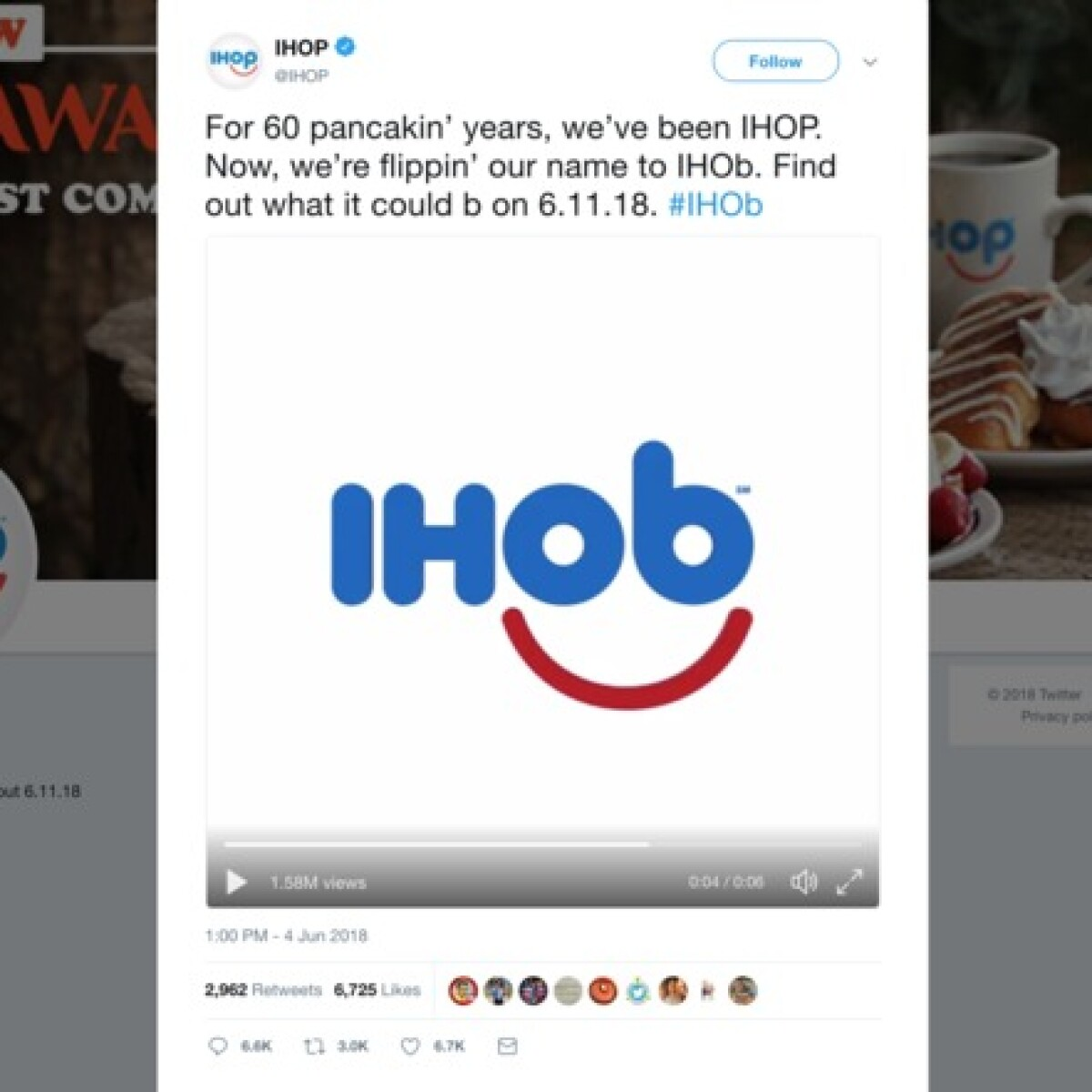 Is IHOP getting rid of pancakes? Changing name to \'IHOb\'