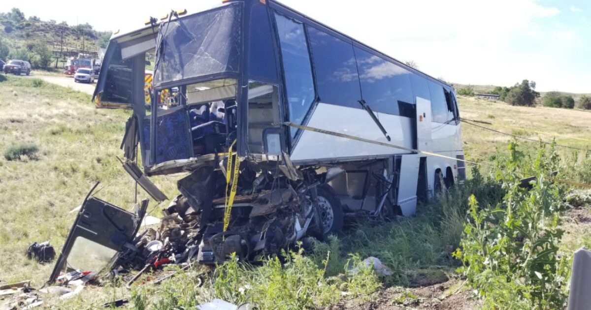 Two killed in charter bus crash on I-25 north of Pueblo