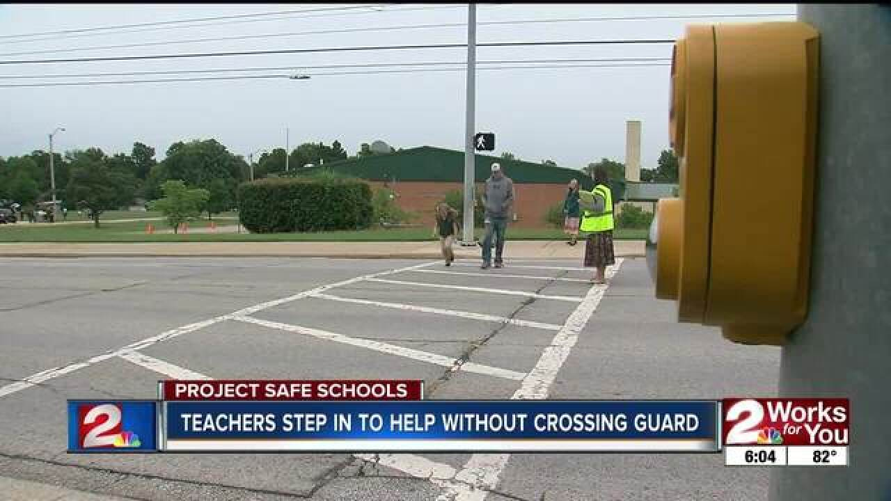 Teachers step in to help as crossing guards
