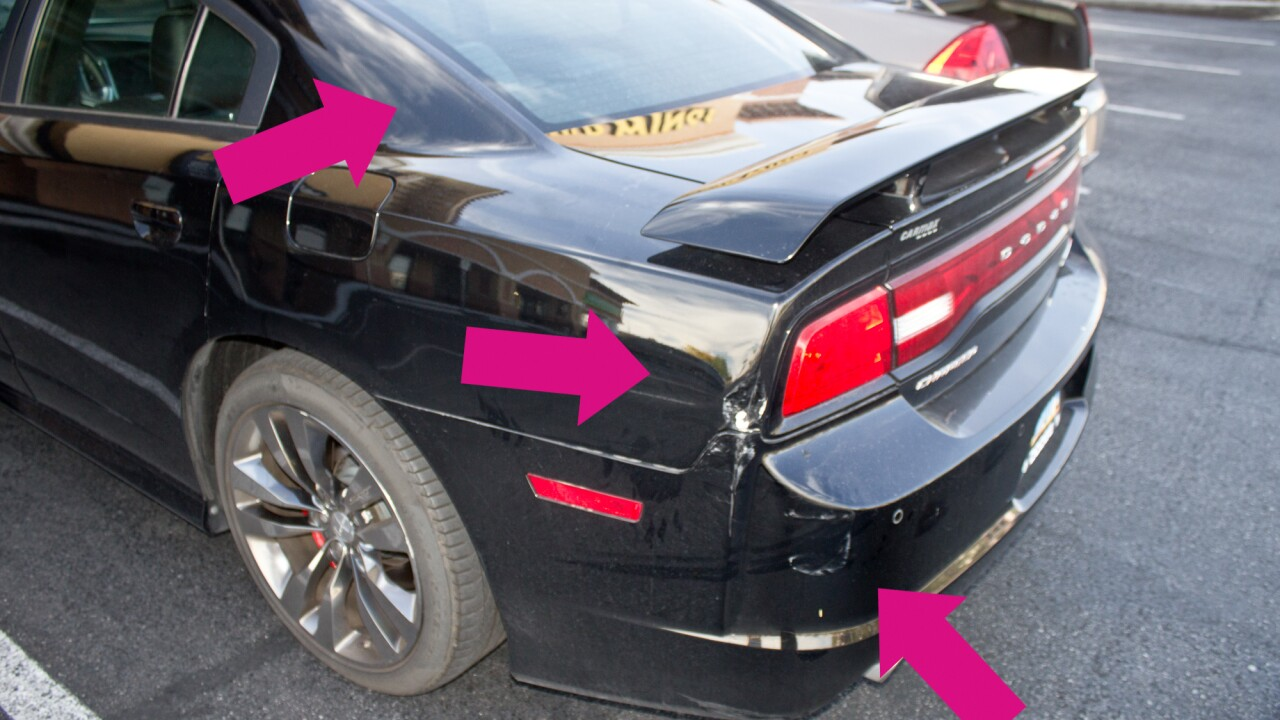 Hangry woman crashes into a parked car outside a Las Vegas Buffalo Wild Wings