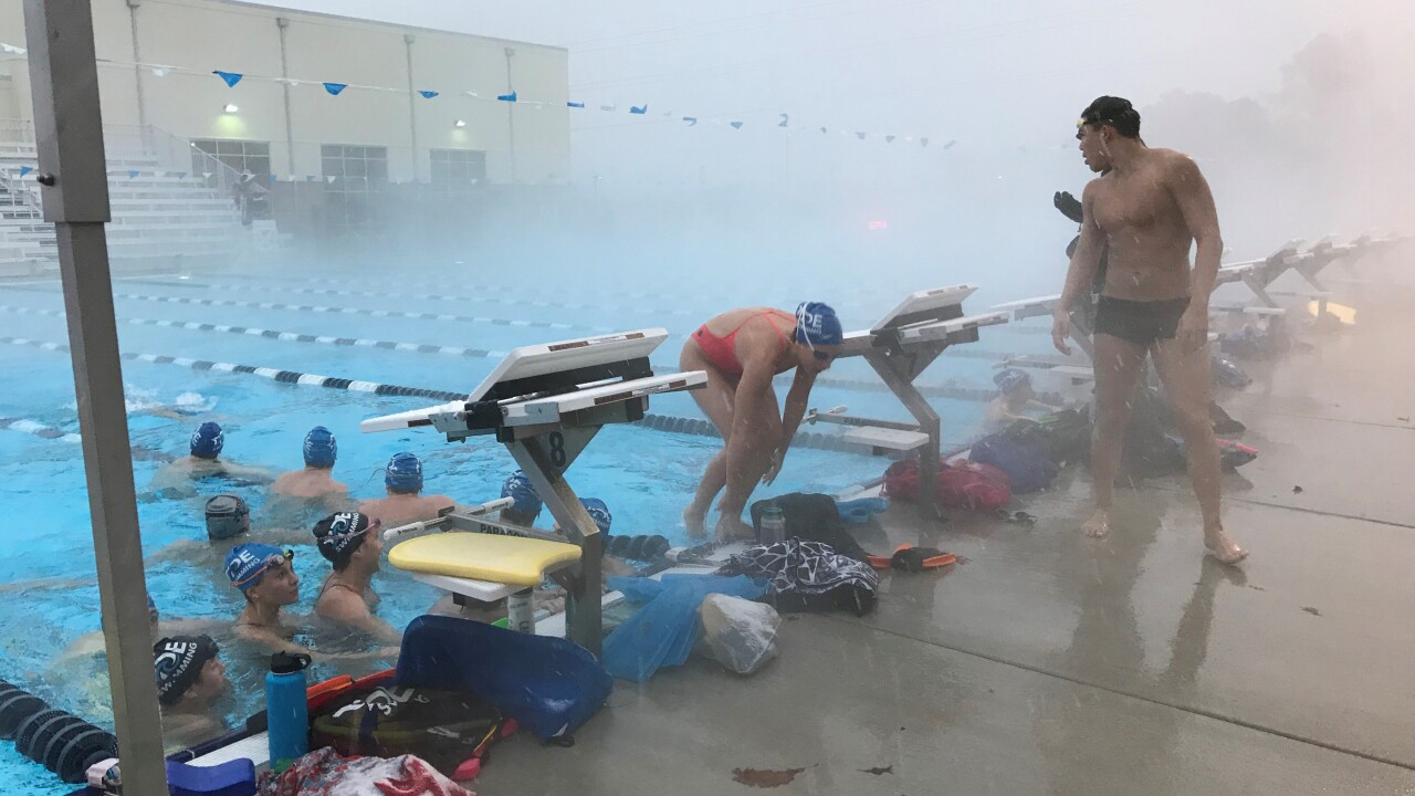 Swimmers in Virginia Beach brave the cold weather and snow to practice