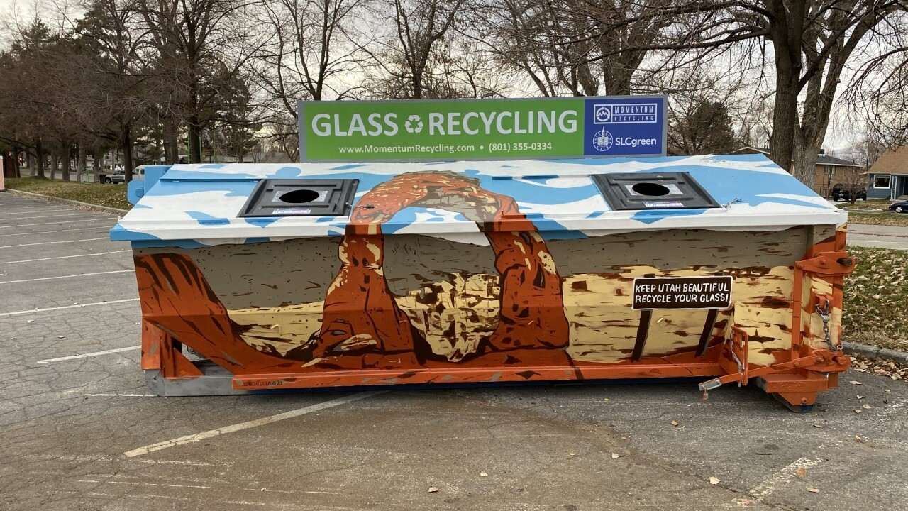 Glass recycling bin.