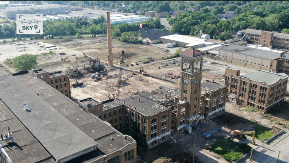 Demolition at the former US Playing Card Company site