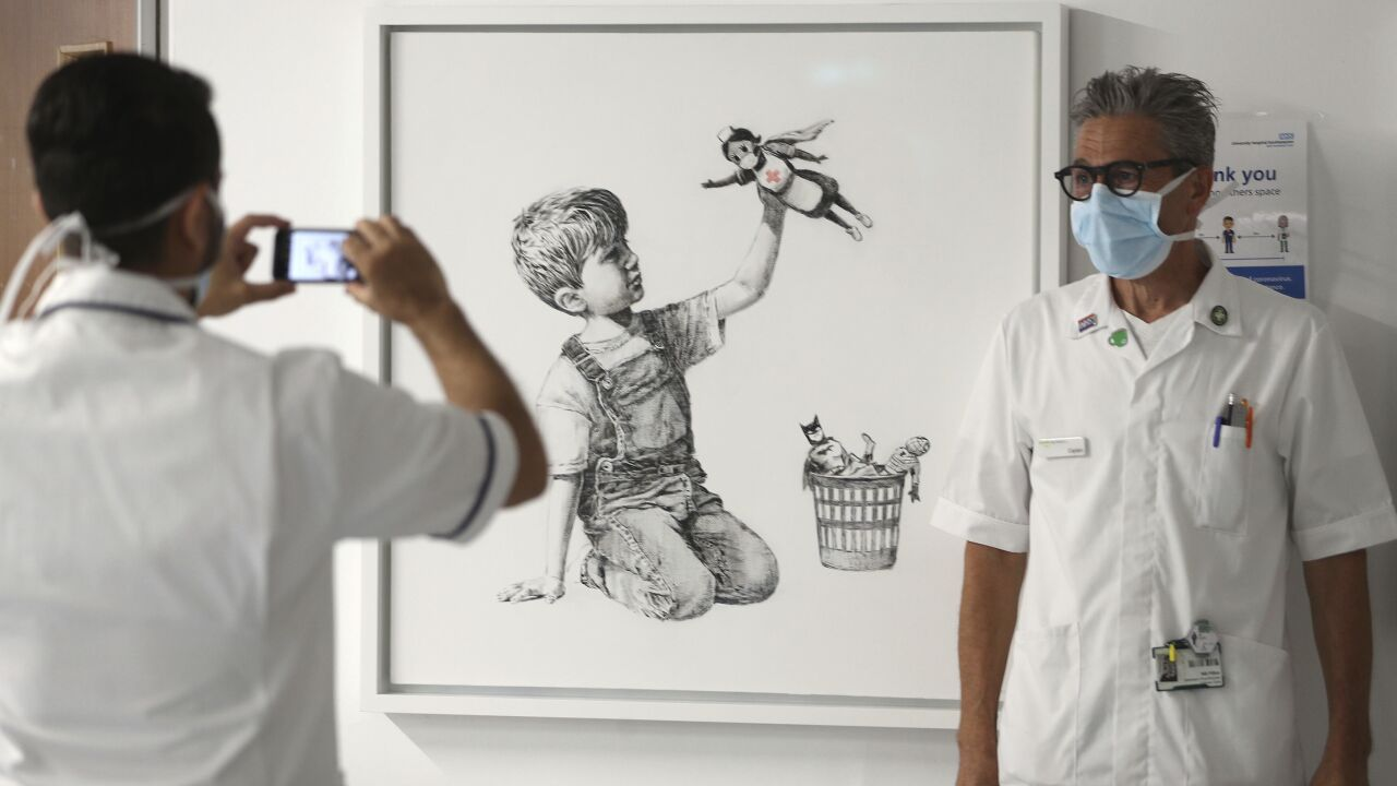 New Banksy art unveiled at hospital to thank doctors, nurses on frontlines of pandemic