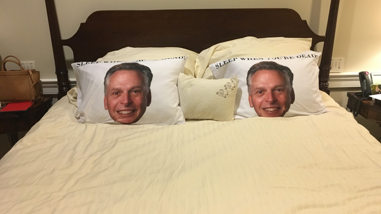 McAuliffe pranks Northam with pillow cases of his face