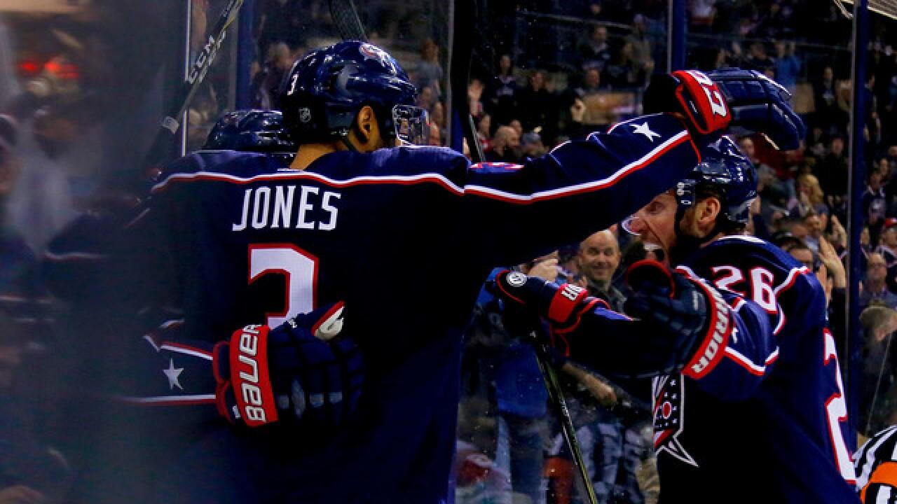 promo code 34c1b 25aa6 Seth Jones scores twice, surging Blue Jackets beat Red Wings