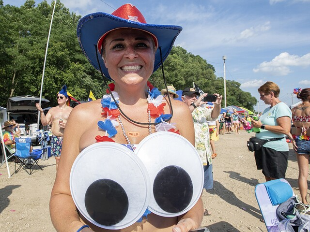 Parrotheads party outside Riverbend before Jimmy Buffett concert