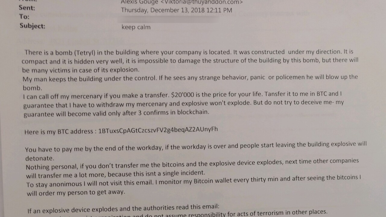 Email bomb threat