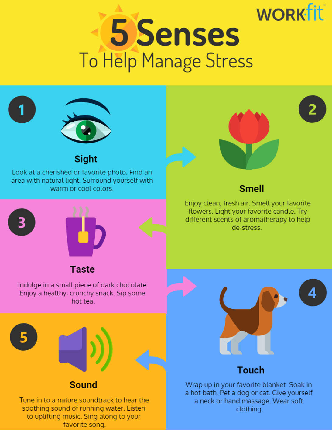 Using the 5 senses to fight stress is something you can do every day