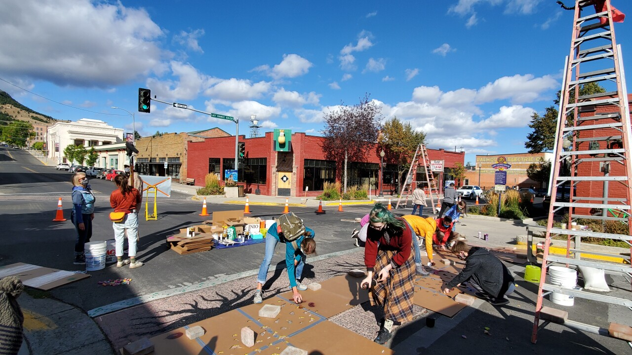 Teens create crosswalk art mural in Downtown Helena