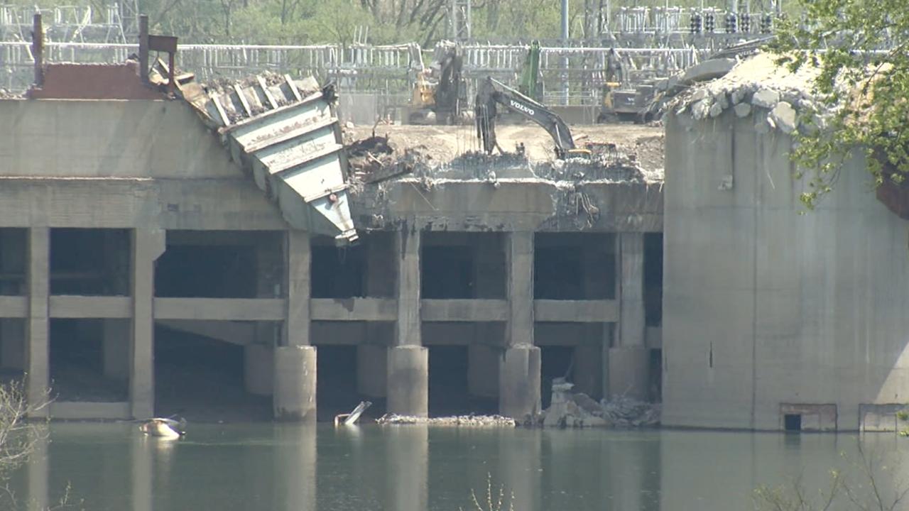 Debris at the former Beckjord coal plant site on April 20, 2021.
