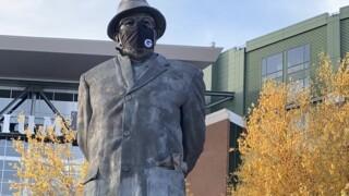 Vince Lombardi statue wears a mask
