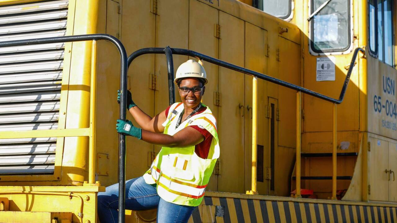 Local woman makes history as Norfolk Naval Shipyard's first African American female train conductor