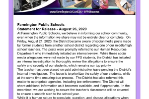 Farmington Public Schools statement