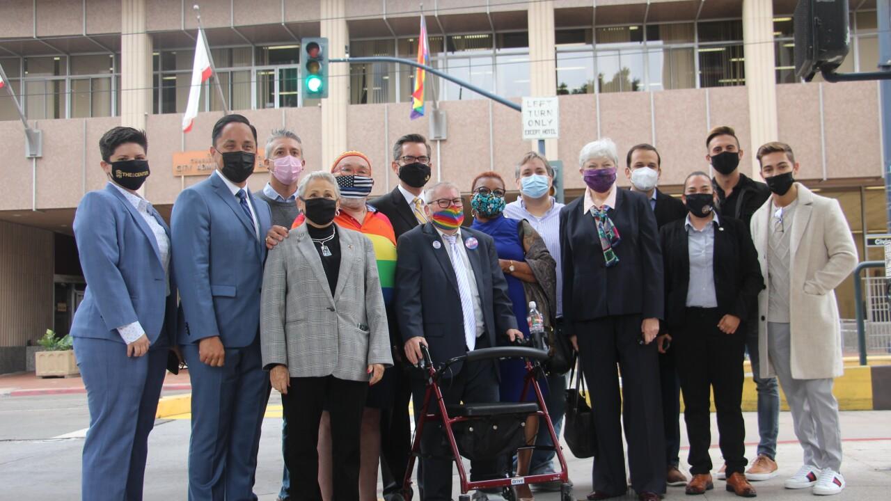 san diego city hall raises pride flag 2021.JPG