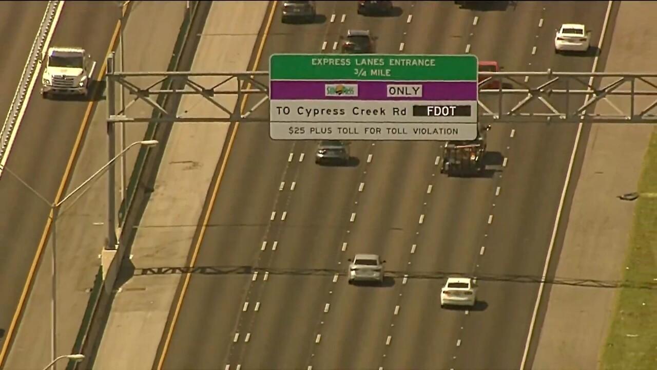Bird's eye view of express lane sign on I-95