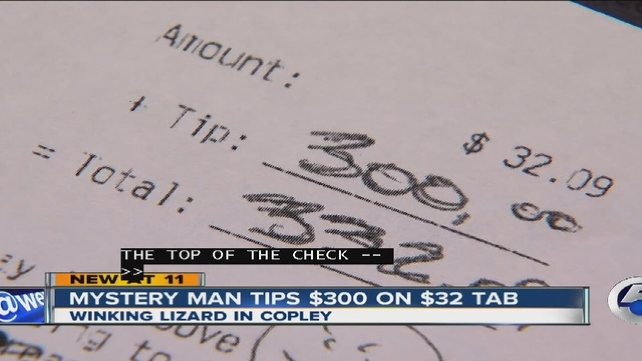 Mystery man tips Copley bartender $300