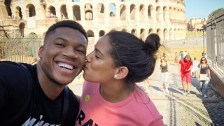 Giannis Antetokounmpo and Mariah Riddlesprigger