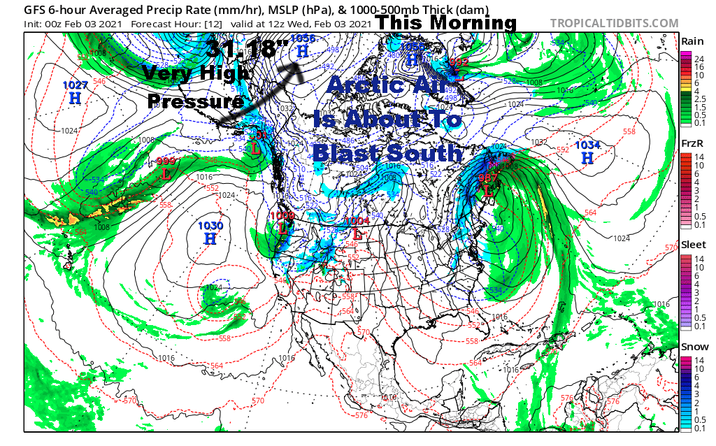 Surface Map Showing A Strong High Pressure Area