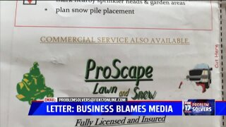 Snow plow business issues explanation letter, blames media