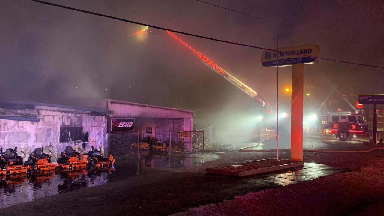 Clinton Mo. tractor dealership building destroyed by fire