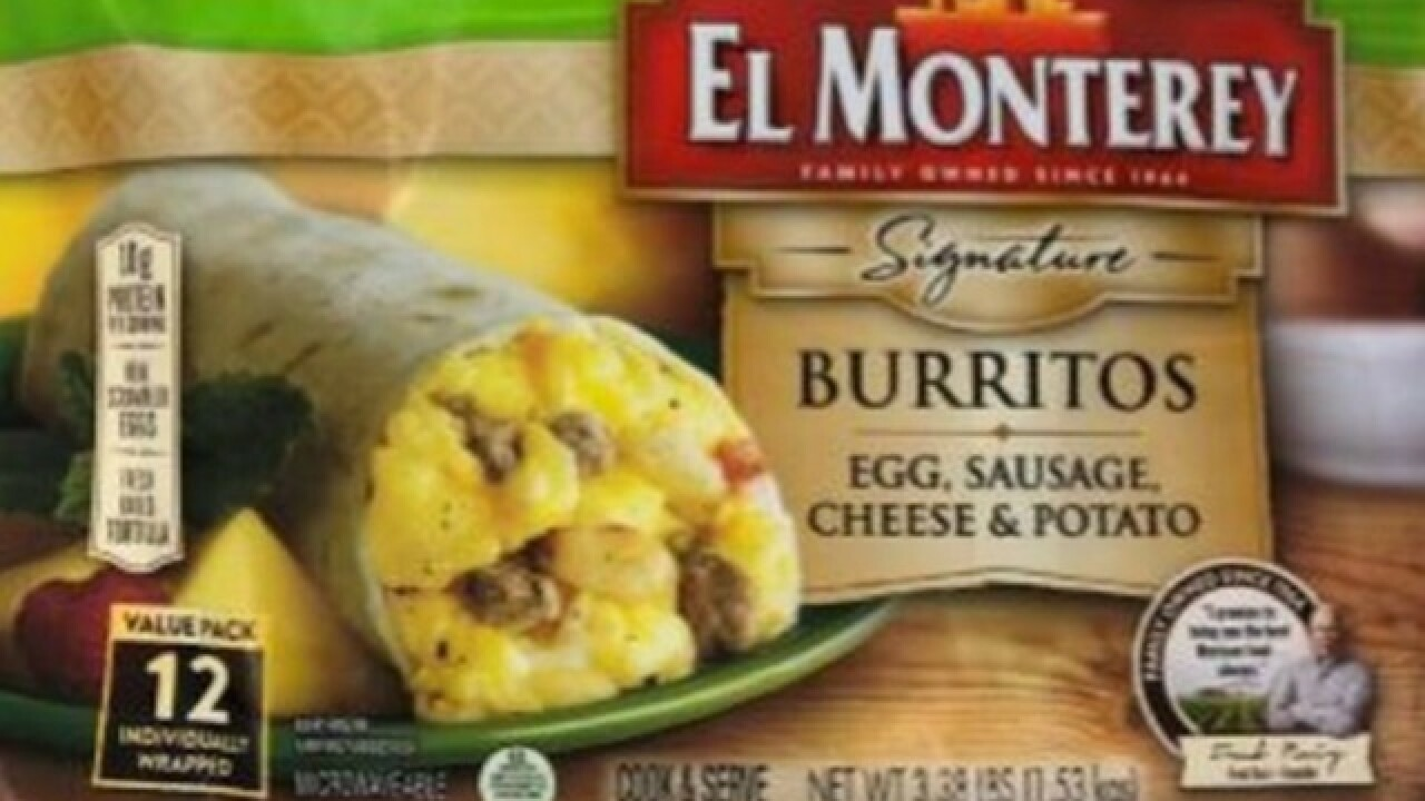 Frozen breakfast burritos recalled, could contain pieces of plastic