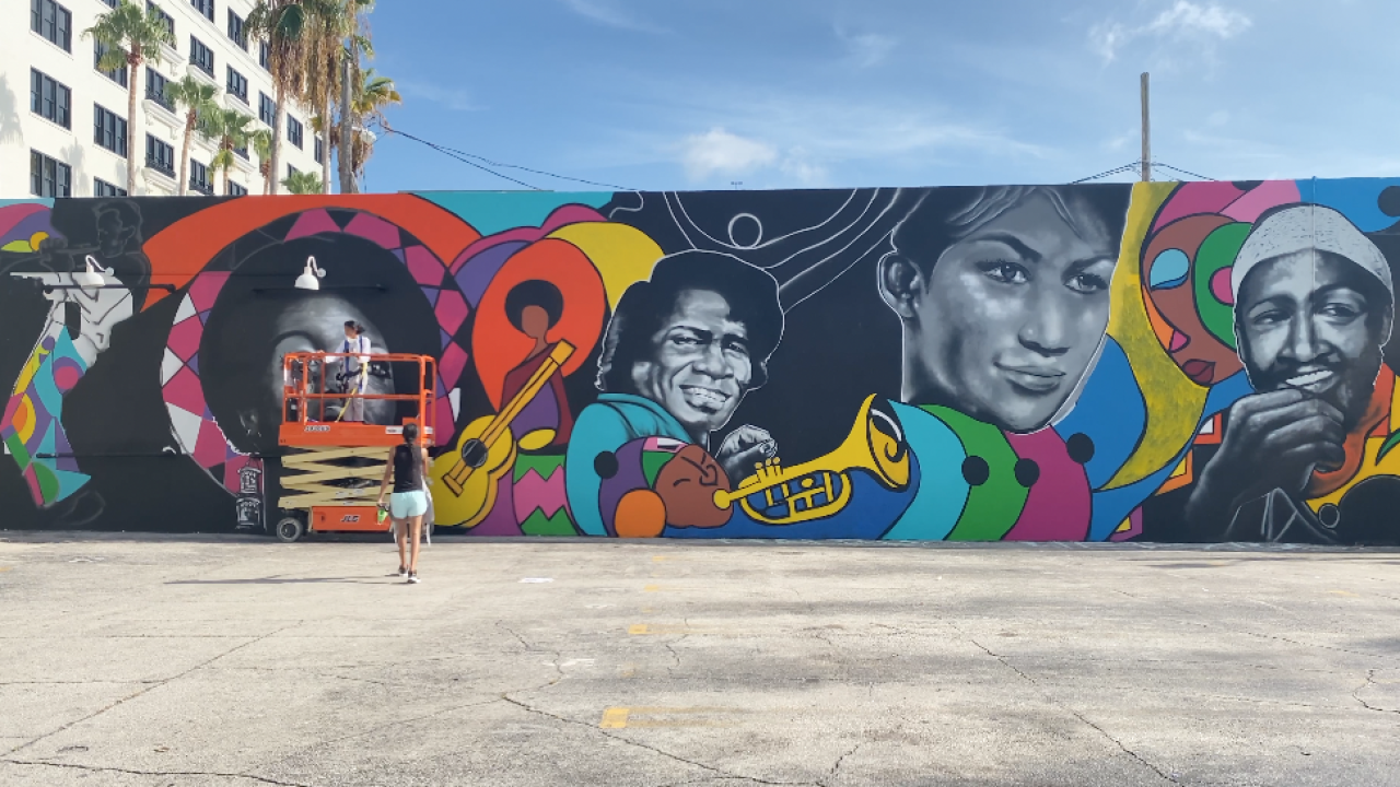Mural of prominent Black artists in Downtown West Palm Beach